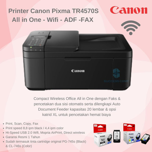 Foto Produk Printer Canon Pixma TR 4570s (Print, Scan, Copy, ADF, Wifi, Fax) dari Canon Authorized Dealer