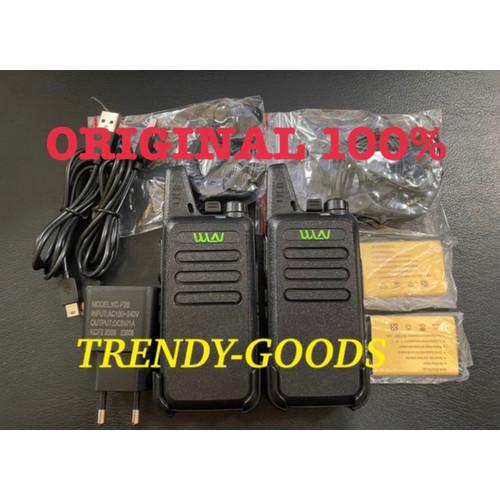 Foto Produk Sepasang WLN KD - C1 HT UHF Free Handsfree Lengkap KDC1 WLAN ORIGINAL - Hitam dari TRENDY-GOODS