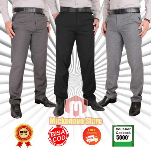 Foto Produk Celana Formal Kantor Kerja Bahan Pria SLIMFIT Hitam Panjang Kantoran - Hitam, 27 dari Mickonova Store