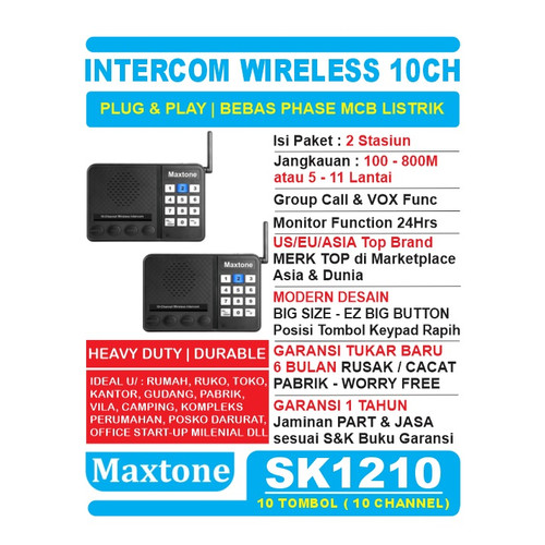 Foto Produk Wireless Intercom 10CH Home Office Interkom - MAXTONE SK1210 - 2 UNIT dari EtalaseBelanja