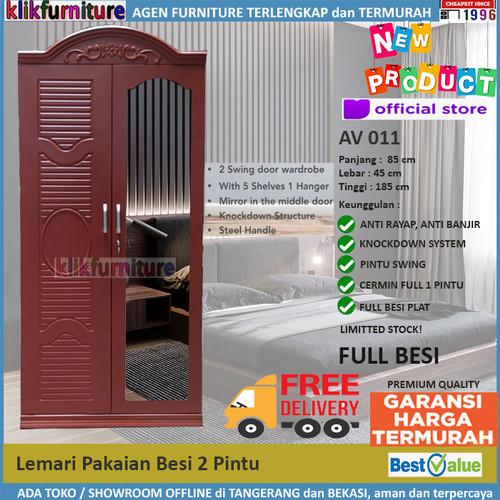 Foto Produk Lemari Pakaian Besi 2 Pintu Coklat FULL PLAT BESI AV 011 dari klikfurniture