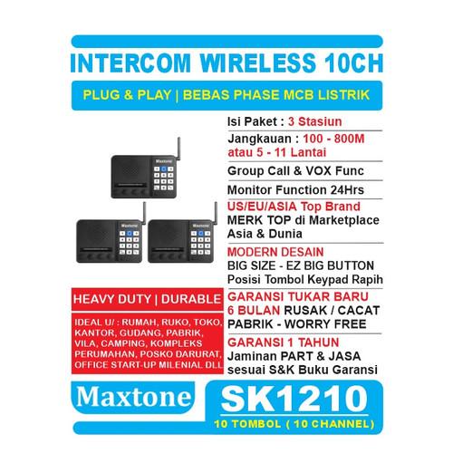Foto Produk Wireless Intercom 10CH Home Office Interkom - MAXTONE SK1210 - 3 UNIT dari EtalaseBelanja