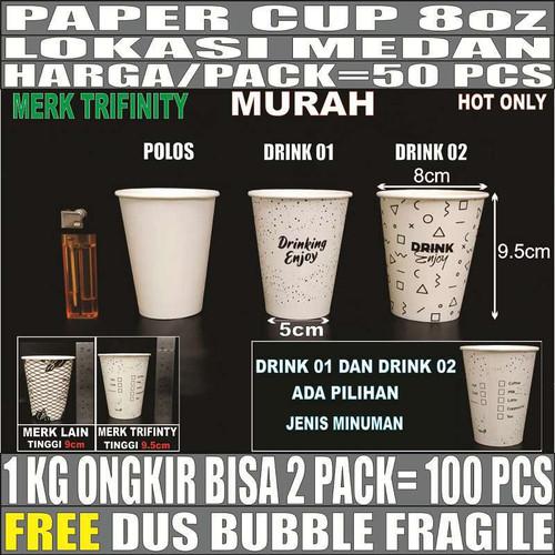 Foto Produk Paper cup 8oz 50pcs Gelas Kertas Kopi Murah Tahan Panas 240ml Medan dari triguna jaya medan