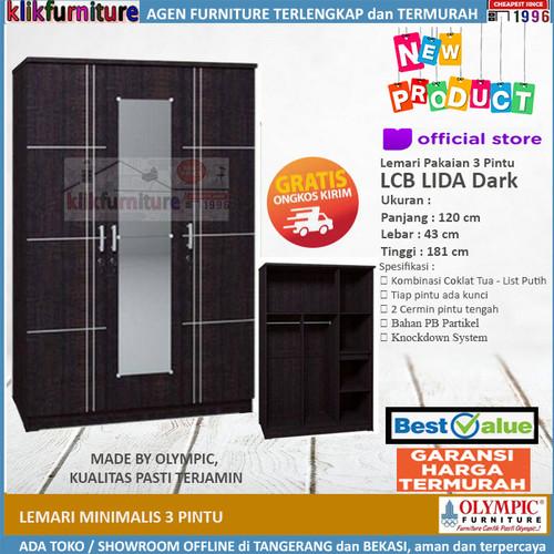 Foto Produk Lemari Pakaian 3 Pintu Minimalis Cermn LCB LIDA Dark Olympic dari klikfurniture