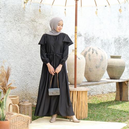 Foto Produk [REAL PICTURE] ALANDA DRESS HAZELNUT IMPORT TANAH ABANG PGMTA METRO - BLACK dari FaVia Shop