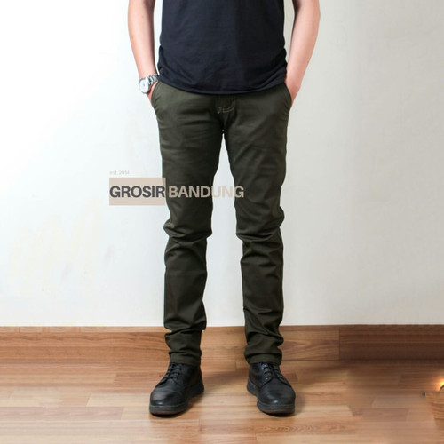 Foto Produk Celana Chino Panjang Hijau Premium | Army | Green | Kantor | Slimfit - Hijau Tua, 33 dari Grosir Bandung