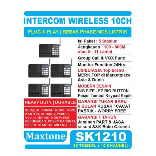 Foto Produk Wireless Intercom 10CH Home Office Interkom - MAXTONE SK1210 - 5 UNIT dari EtalaseBelanja
