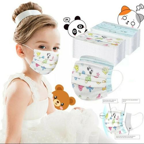 Foto Produk Masker Anak - Anak 3ply Kids Child Mask Motif Earloop 1 Box Isi 50 Pcs dari Grosir Unique