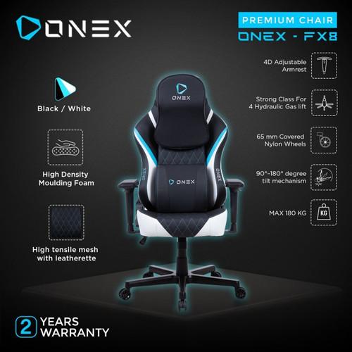 Foto Produk ONEX FX8 Premium Quality Gaming Chair - Black/White/Blue dari manekistore