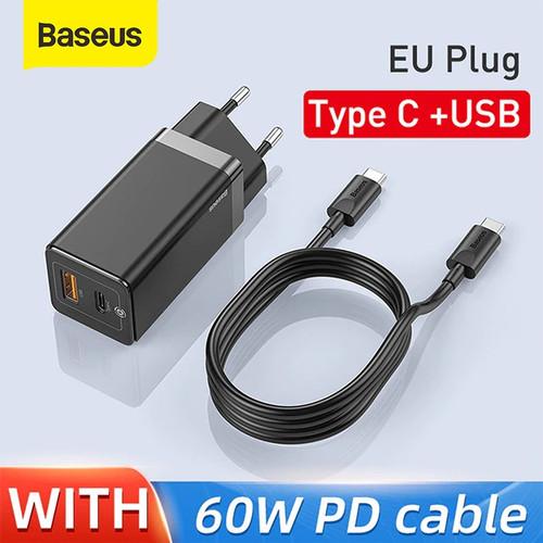 Foto Produk KEPALA CHARGER BASEUS GAN FAST CHARGER 45W USB TYPE C QUICK CHARGE 4.0 - Hitam dari Baseus Official Store