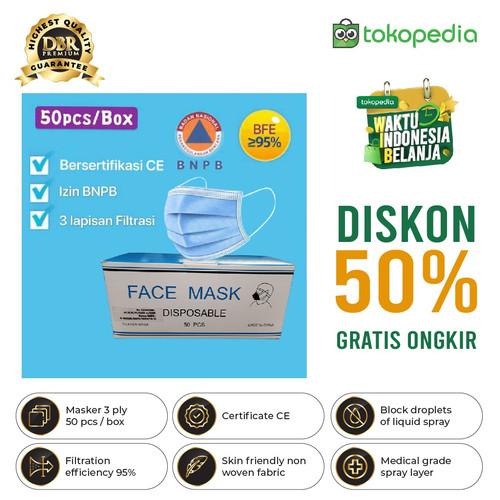 Foto Produk MASKER 3PLY MEDIS MODEL SENSI DAILY PROTECTIVE MASK 95% ANTI DROPLET - Masker Biru dari DBR Premium