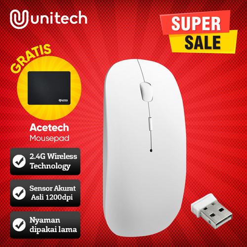 Foto Produk Thin Wireless Mouse APPLE SLIM WITH USB RECEIVER MACBOOK LAPTOP M2 - Putih dari Unitech Official