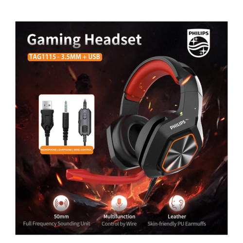 Foto Produk Headset Gaming Multifungsi Cool LED Lighting 7.1 CH - Philips TAG1115 dari EtalaseBelanja