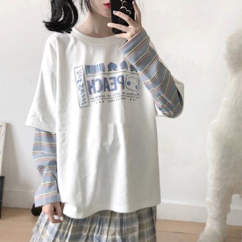 Foto Produk Kaos T Shirt Tangan Panjang Import Oversized Model Double Japan kOREA - Merah Muda dari Grosir Korean style