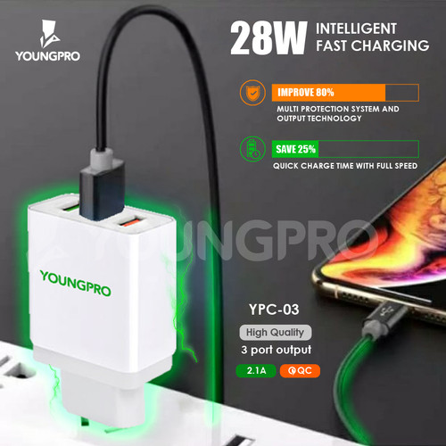 Foto Produk Youngpro YPC-03 - Charger Adapter 3Usb Port 2.1A Fast Charging QC 3.0 dari YOUNGPRO INDONESIA