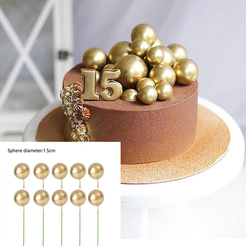 Foto Produk 5 Pcs Topper Kue Hiasan Kue Ulang Tahun Topper Mutiara Gold - Gold dari Kendrick MY