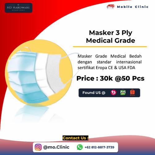 Foto Produk Masker 3Ply Grade Medical Surgical Mask Earloop Harga Terjangkau dari HD Hardware