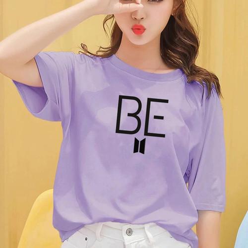 Foto Produk Atasan Tshirt Baju Kaos Wanita Remaja Cewek BTS BE READY Murah Terbaru - LILAC, S dari Onestopfashionid