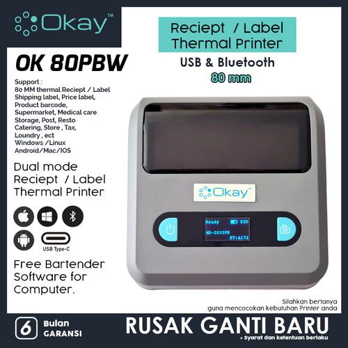 Foto Produk PRINTER THERMAL LABEL / KASIR OK 80PBW PRINTER BLUETOOTH 80MM BATERAI dari OKAY INDONESIA