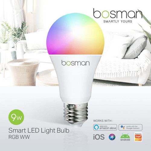 Foto Produk Bosman Smart LED Light Bulb 9W RGBWW - Bohlam Wifi IoT Smart Home dari Bosman Official Store