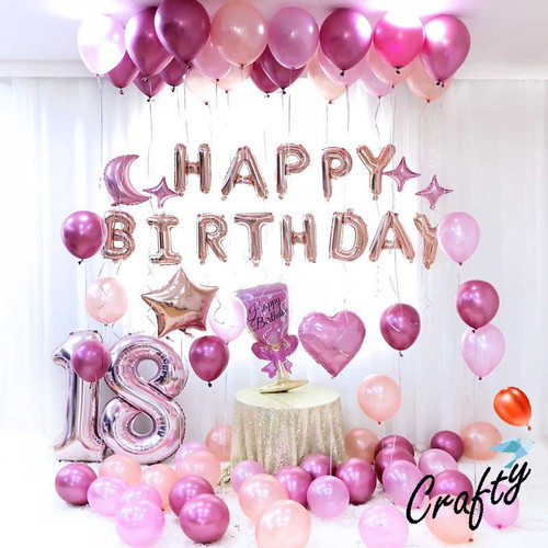 Foto Produk [PAKET] BIRTHDAY Set ROSE PINK CHROME GLASS Dekorasi Backdrop Ultah - HAPPY BIRTHDAY dari Crafty - Craft Your Own Party