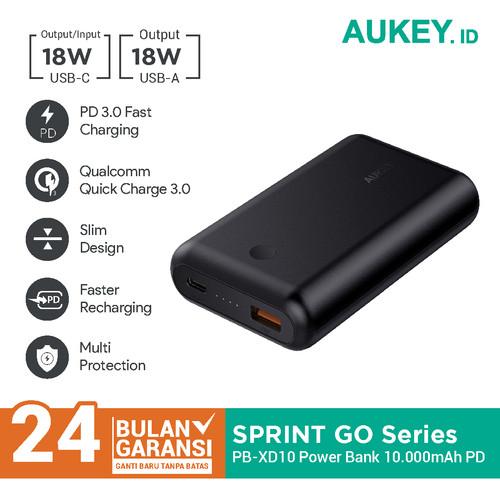 Foto Produk Aukey Powerbank PB-XD10 10050 mAh USB C PD 2.0 & QC 3.0 - 500278 dari Aukey Makassar