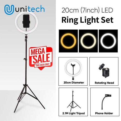 Foto Produk Paket Komplit Ring Light 20cm + Light Stand Tripod 2.1M Vlogger Tiktok dari TokoUsbcom