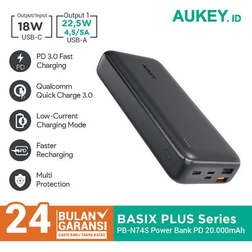 Foto Produk Aukey Powerbank PB-N74S Basix Plus PD 20000mAh - 500730 dari AUKEY