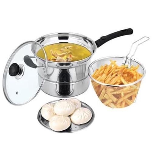 Foto Produk Deep Fryer Pan 22cm - Stainless Pot 3in1 - Panci Goreng - Wajan Kukus - gagang panjang dari BABAMU