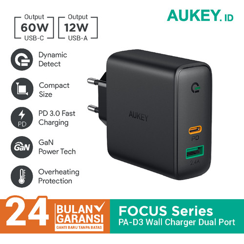 Foto Produk Aukey PA-D3 Charger Dual-Port 60W PD with Dynamic Detect - 500394 dari Aukey Makassar