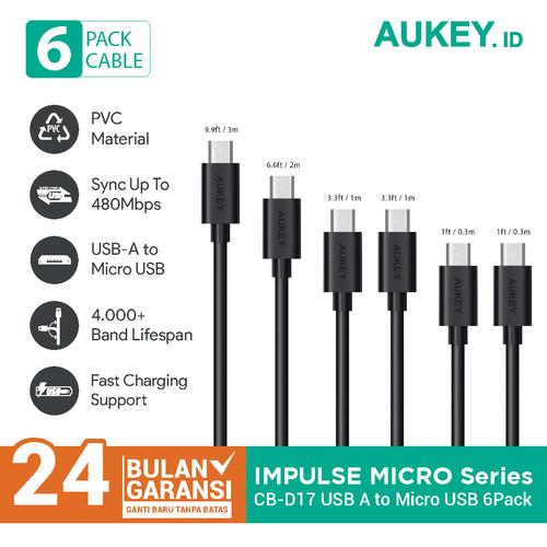 Foto Produk Aukey Cable CB-D17 Micro USB 2.0 (6Pcs) BLACK - 500092 dari Aukey Makassar