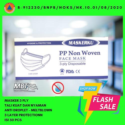Foto Produk Masker 3 Ply 3Ply isi 50 disposable Surgical mask Masker Bedah Earloop dari Lapak Bewok