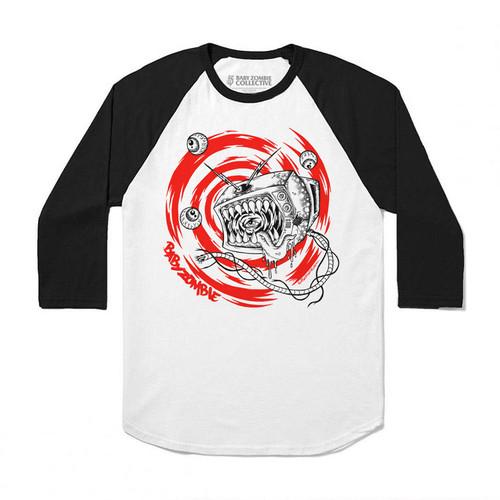 Foto Produk BABY ZOMBIE - Tell(lie)vision Raglan Tshirt - S/M/L/XL dari Baby Zombie Co.