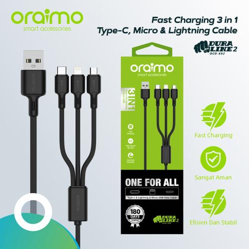 Foto Produk Oraimo Kabel Data 3in1 Fast Charging Data Cable Charger OCD-X92 dari Oraimo_indonesia