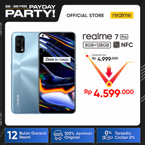 Foto Produk realme 7 Pro 8/128GB Snapdragon 720G+NFC, 64MP Quad Camera, 65W Charge - Abu-abu dari realme Official Store
