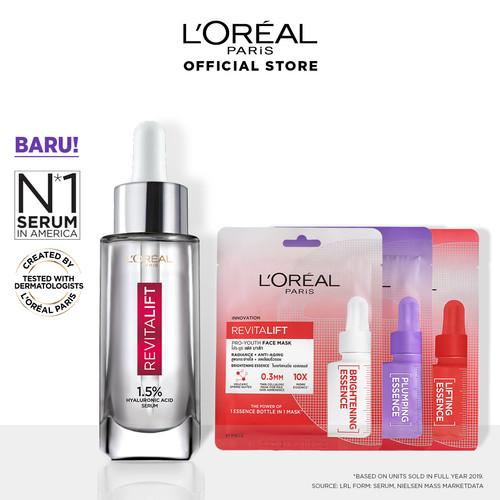 Foto Produk L'Oreal Paris Revitalift 1.5% Hyaluronic Acid Serum+ 3 Pro-Youth Mask dari L'oreal Paris