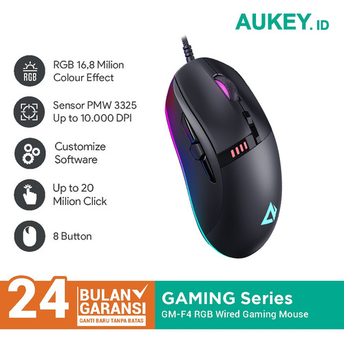 Foto Produk Aukey GM-F4 Knight Gaming Mouse RGB Wired with 10000 DPI - 500693 dari AUKEY