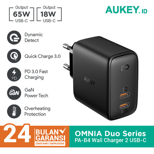 Foto Produk Aukey Charger PA-B4 Omnia Duo 65W Dual-Port Power Delivery- 500485 dari AUKEY