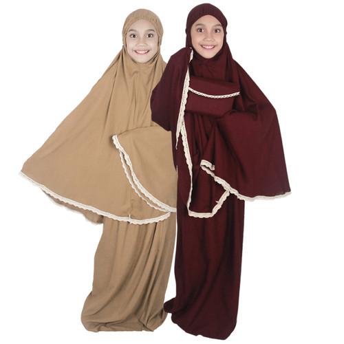 Foto Produk Bajuyuli Mukena Anak Tanggung Polos Renda MR01 Series dari Bajuyuli