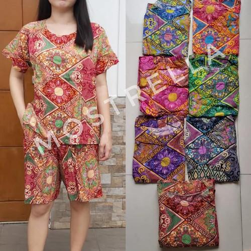 Foto Produk Set Piyama Baju Tidur Wanita Batik Stelan Lengan Pendek Bunga - Hitam dari Mostrella