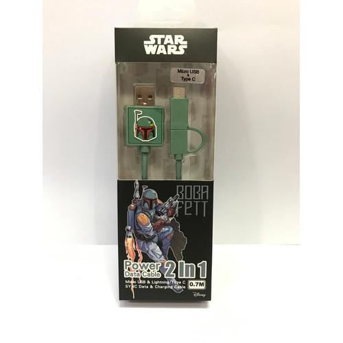 Foto Produk Kabel Star War 2in1 Micro USB & Type C Kabel Data Boba Fett dari PojokITcom Pusat IT Comp