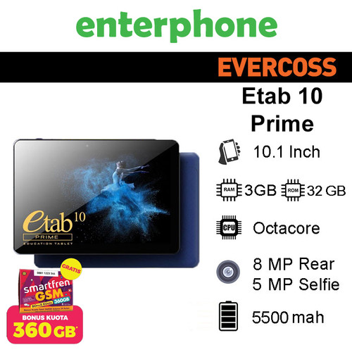 Foto Produk Tablet Evercoss ETab 10 Prime X9 3/32Gb Alternatif Advan Sketsa - Abu-abu dari enterphone2