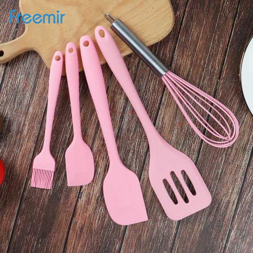 Foto Produk Freemir Peralatan Masak Silikon Set/Kitchen Tool/Silicon Kitchenware - Merah Muda dari freemir Official Store