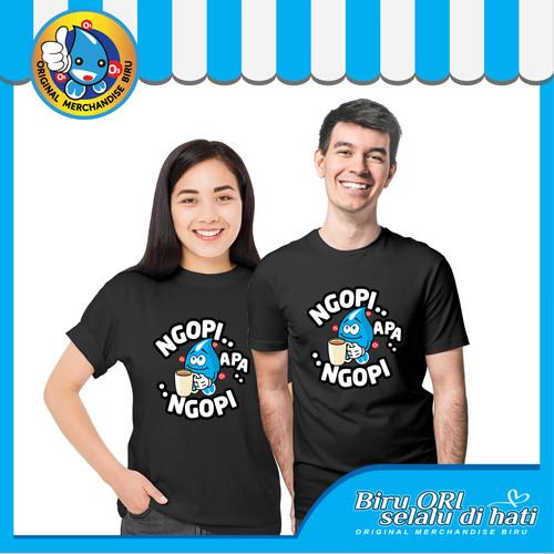 Foto Produk Baju Kaos T-Shirt Atasan Distro Ngopi Fashion Wanita Pria - Biru Ori - Hitam dari Air Minum Biru