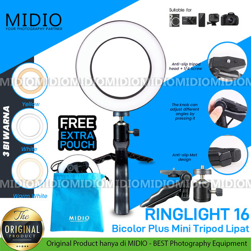 Foto Produk RingLight 16 Midio For Selfie Vlogger Livestreamer Plus Tripod Lipat dari Midio