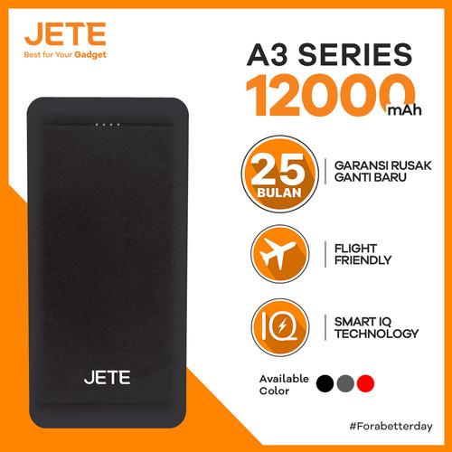 Foto Produk Powerbank JETE A3 12000 mAh Fast Charging & Smart IQ Garansi 1 Tahun - Hitam dari JETE Official Surabaya