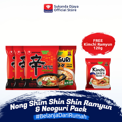 Foto Produk Nong Shim Shin Shin Ramyun & Neoguri Pack FREE Nong Shim Kimchi Ramyun dari Sukanda Djaya Home