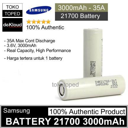 Foto Produk Authentic SAMSUNG 30T 3000mAh 21700 Battery | batre baterai 3000 cas dari deKloud
