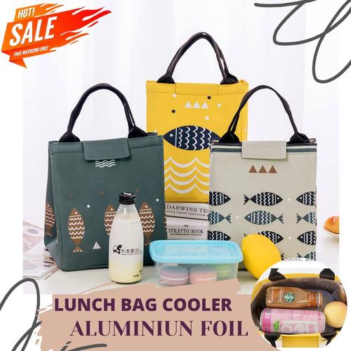 Foto Produk Tas Bekal Makanan / Lunch Bag Motif / Tas Bekal Makanan Motif - FISH - NAVY dari Rising.collection