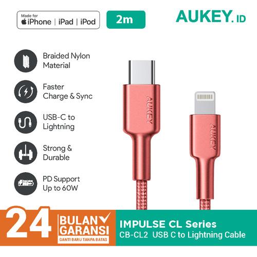 Foto Produk Aukey MFI Braided Nylon USB C To Lightning Cable 2 Meter RED - 500376 dari AUKEY